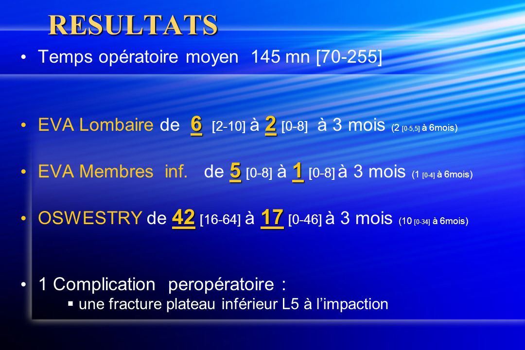 RESULTATS Temps opératoire moyen 145 mn [70-255]